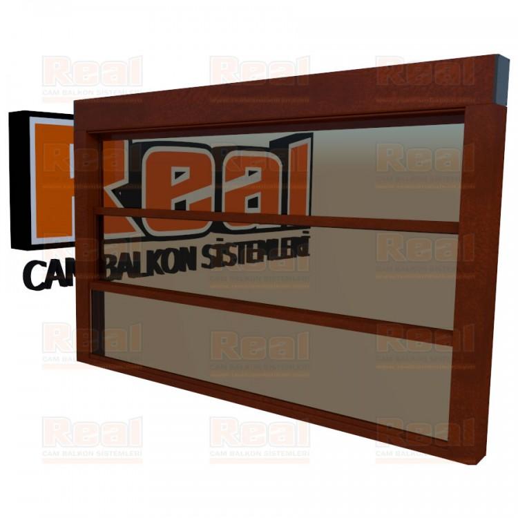 Giyotin Cam Balkon Bronz Cam Ahşap Fındık Profil - Bronz Cam