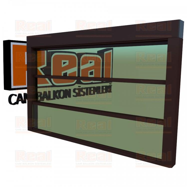 Giyotin Cam Balkon Yeşil Cam Maun Profil - Yeşil Cam
