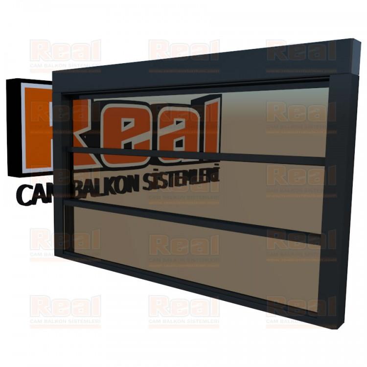 Giyotin Cam Balkon Bronz Cam Antrasit Gri Profil - Bronz Cam