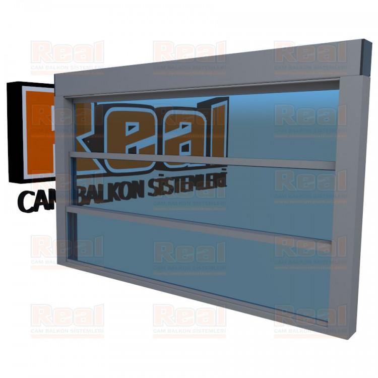Giyotin Cam Balkon Mavi Cam Mat Eloksal Profil - Mavi Cam