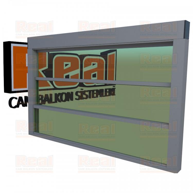 Giyotin Cam Balkon Yeşil Cam Mat Eloksal Profil - Yeşil Cam