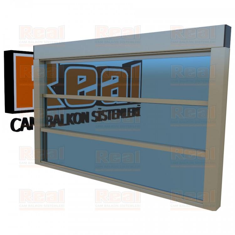 Giyotin Cam Balkon Mavi Cam Parlak Bronz Profil - Mavi Cam