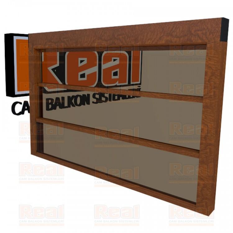 Giyotin Cam Balkon Isıcamlı Bronz Cam Ahşap Altınmeşe Profil - Bronz Cam