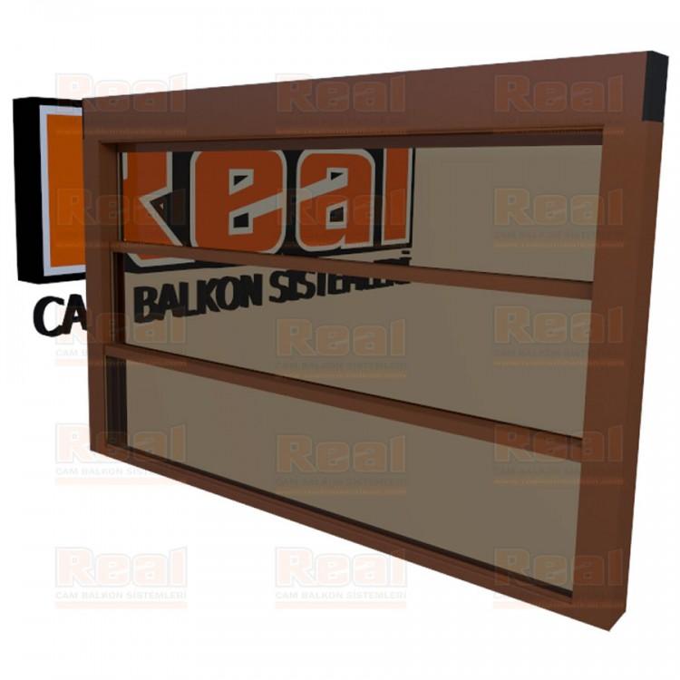 Giyotin Cam Balkon Isıcamlı Bronz Cam Altınmeşe Profil - Bronz Cam