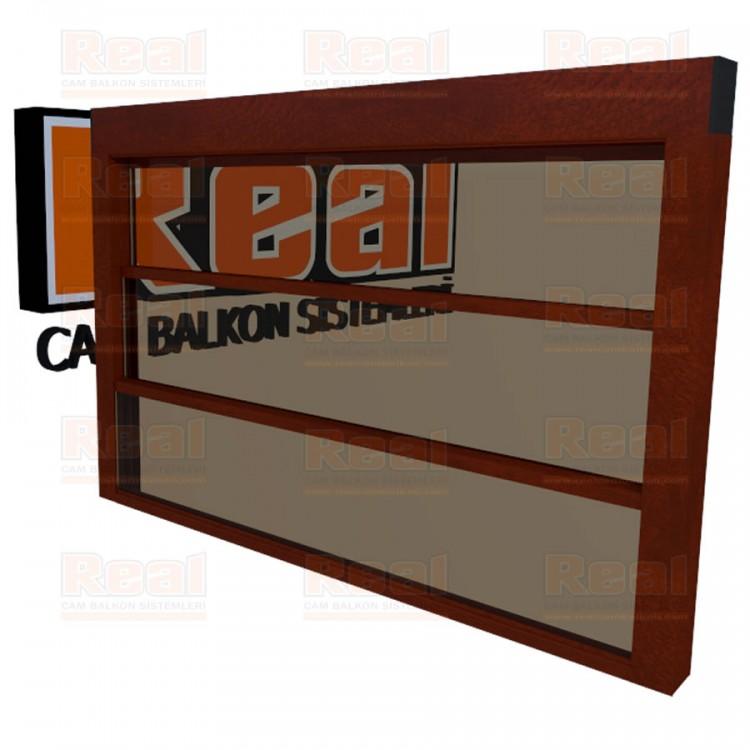 Giyotin Cam Balkon Isıcamlı Bronz Cam Ahşap Fındık Profil - Bronz Cam