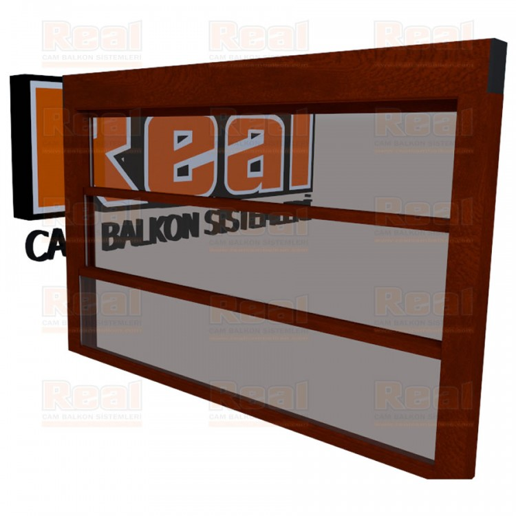 Giyotin Cam Balkon Isıcamlı Şeffaf Cam Ahşap Fındık Profil - Şeffaf Cam