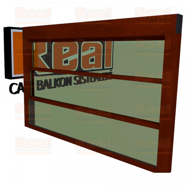 Giyotin Cam Balkon Isıcamlı Yeşil Cam Ahşap Fındık Profil - Yeşil Cam