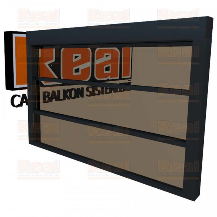 Giyotin Cam Balkon Isıcamlı Bronz Cam Antrasit Gri Profil - Bronz Cam