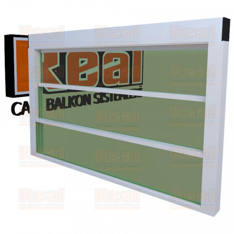 Giyotin Cam Balkon Isıcamlı Yeşil Cam Beyaz Profil - Yeşil Cam