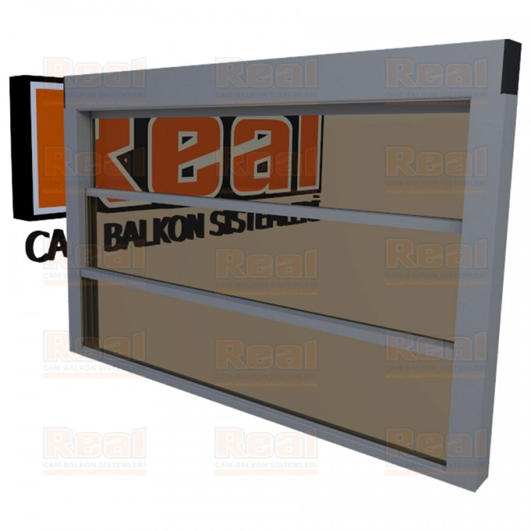 Giyotin Cam Balkon Isıcamlı Bronz Cam Mat Eloksal Profil - Bronz Cam