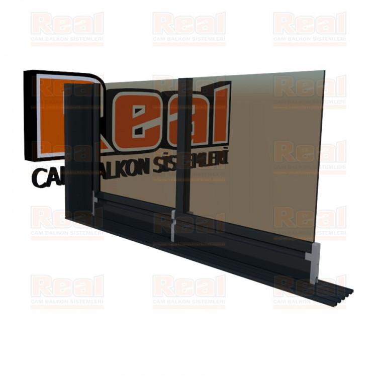 Klasik Sürme Seri Eşiksiz Bronz Cam Antrasit Gri Profil - Bronz Cam