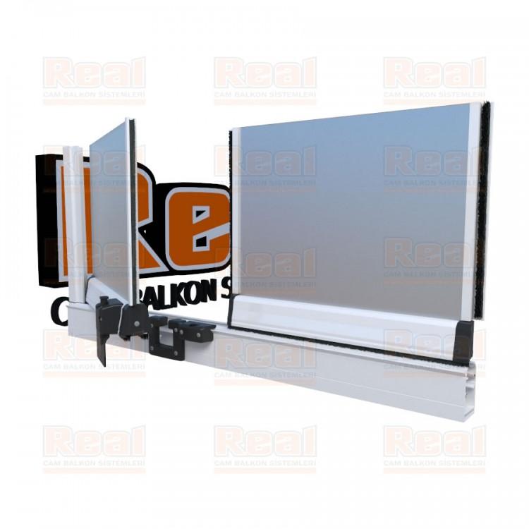 Pro Gold 8 mm Füme Kumlu Cam Beyaz Profil - Satine Cam