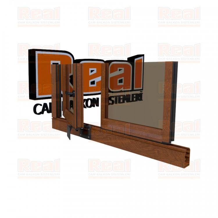 Pro Gold 8 mm Kollu Contalı Bronz Cam Ahşap Altınmeşe Profil - Bronz Cam