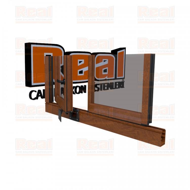 Pro Gold 8 mm Kollu Contalı Şeffaf Cam Ahşap Altınmeşe Profil - Şeffaf Cam