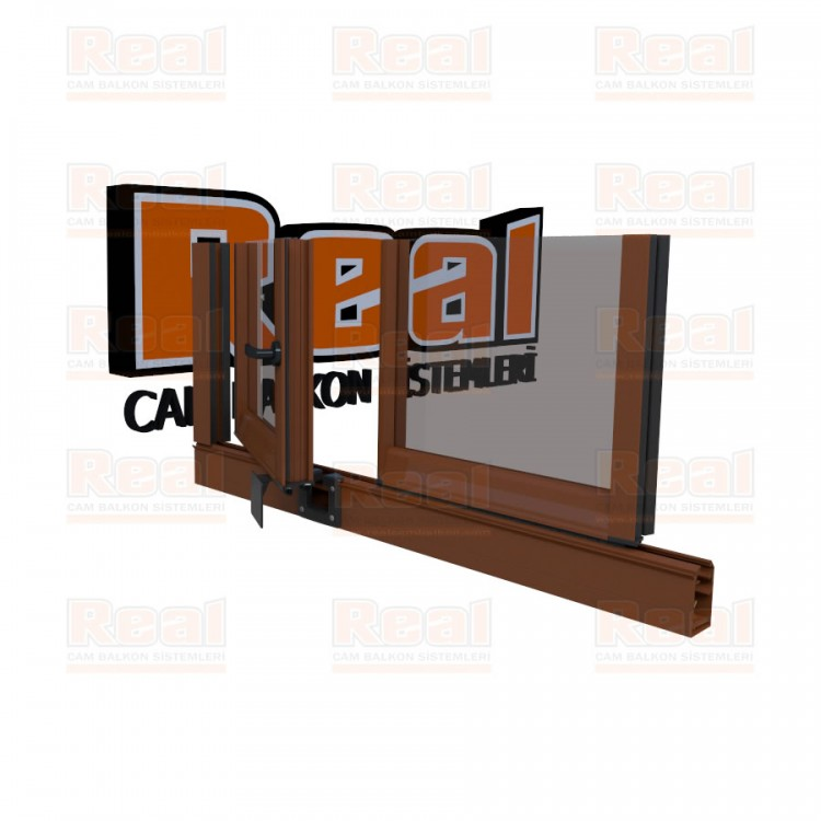 Pro Gold 8 mm Kollu Contalı Şeffaf Cam Altınmeşe Profil - Şeffaf Cam