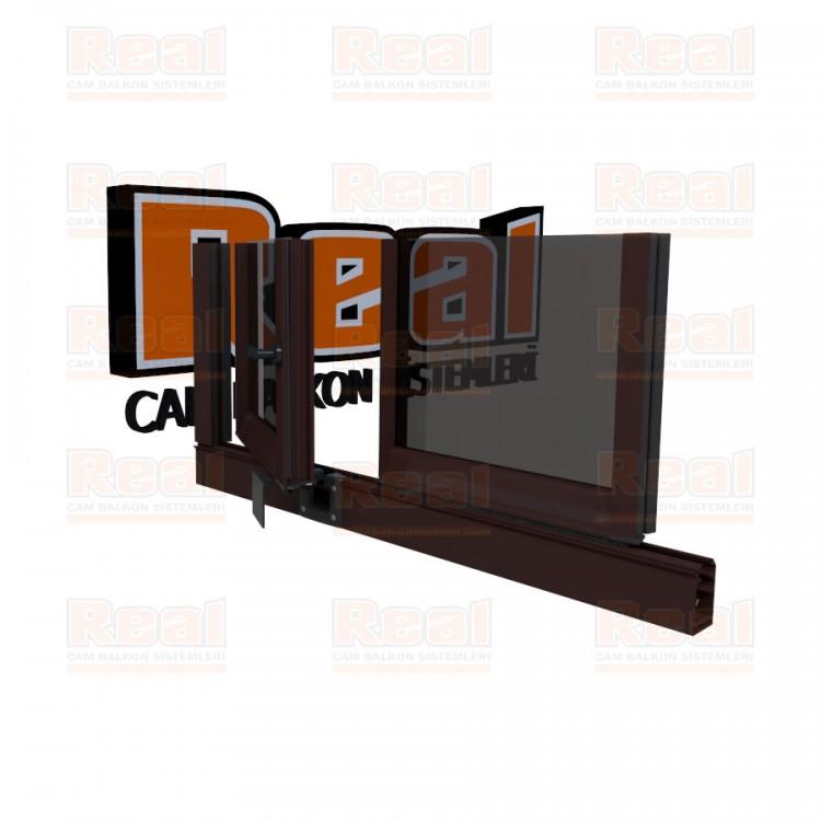Pro Gold 8 mm Kollu Contalı Füme Cam Maun Profil - Füme Cam