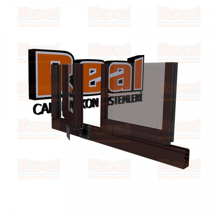 Pro Gold 8 mm Kollu Contalı Şeffaf Cam Maun Profil - Şeffaf Cam