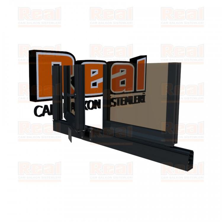 Pro Gold 8 mm Kollu Contalı Bronz Cam Antrasit Gri Profil - Bronz Cam