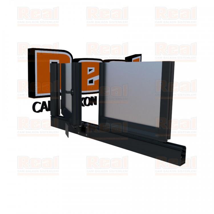 Pro Gold 8 mm Kollu Contalı Satine Cam Antrasit Gri Profil - Satine Cam