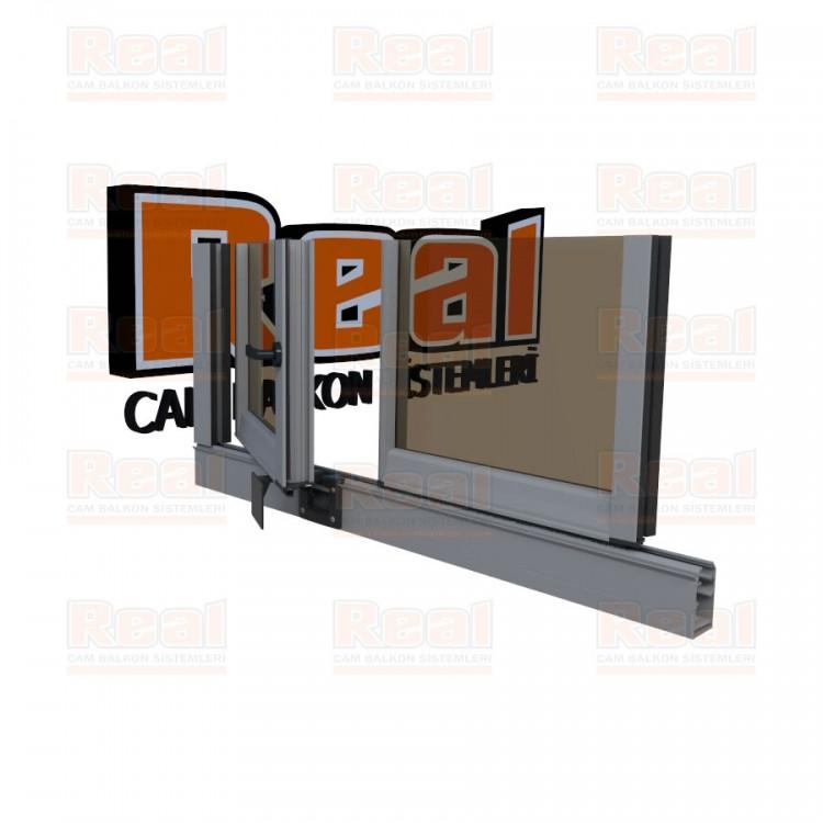 Pro Gold 8 mm Kollu Contalı Bronz Cam Mat Eloksal Profil - Bronz Cam