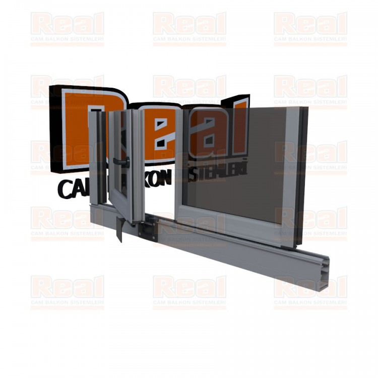 Pro Gold 8 mm Kollu Contalı Füme Cam Mat Eloksal Profil - Füme Cam