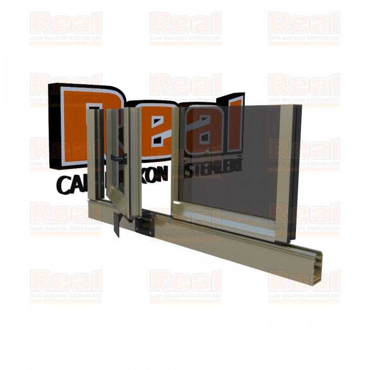 Pro Gold 8 mm Kollu Contalı Füme Cam Parlak Bronz Profil - Füme Cam