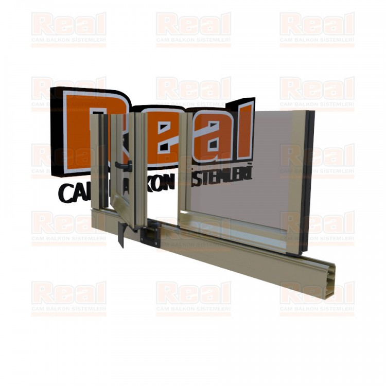 Pro Gold 8 mm Kollu Contalı Şeffaf Cam Parlak Bronz Profil - Şeffaf Cam