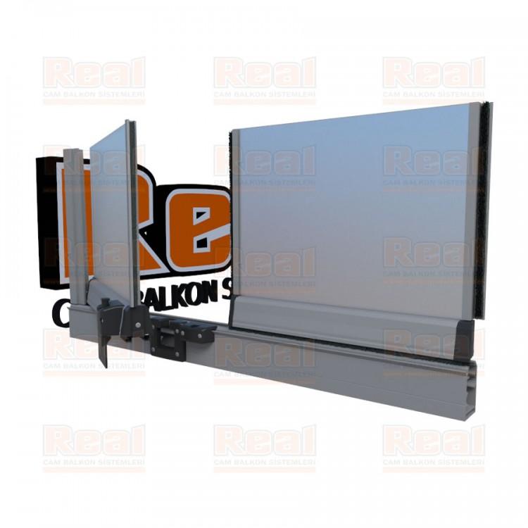 Pro Gold 8 mm Füme Kumlu Cam Mat Eloksal Profil - Satine Cam