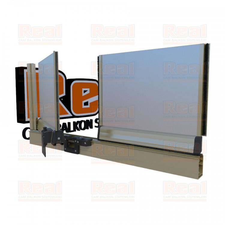 Pro Gold 8 mm Füme Kumlu Cam Parlak Füme Kumlu Profil - Satine Cam