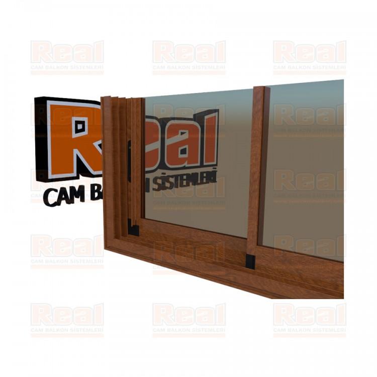 R3 Sürme Seri Eşikli 8 mm Bronz Cam Ahşap Altınmeşe Profil - Bronz Cam