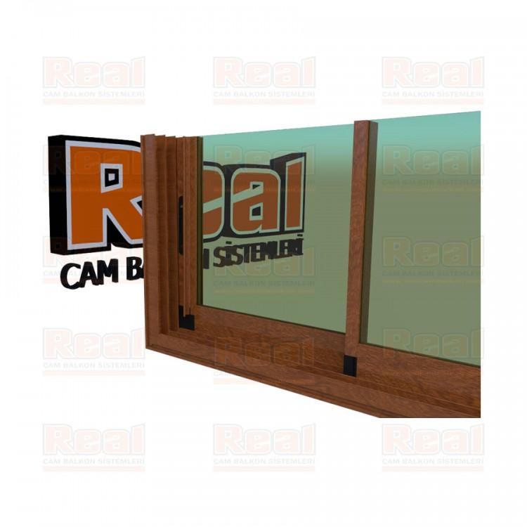 R3 Sürme Seri Eşikli 8 mm Yeşil Cam Ahşap Altınmeşe Profil - Yeşil Cam