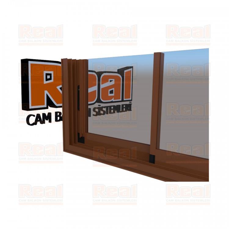 R3 Sürme Seri Eşikli 8 mm Şeffaf Cam Altınmeşe Profil - Şeffaf Cam