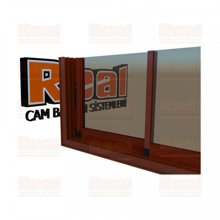 R3 Sürme Seri Eşikli 8 mm Bronz Cam Ahşap Fındık Profil - Bronz Cam