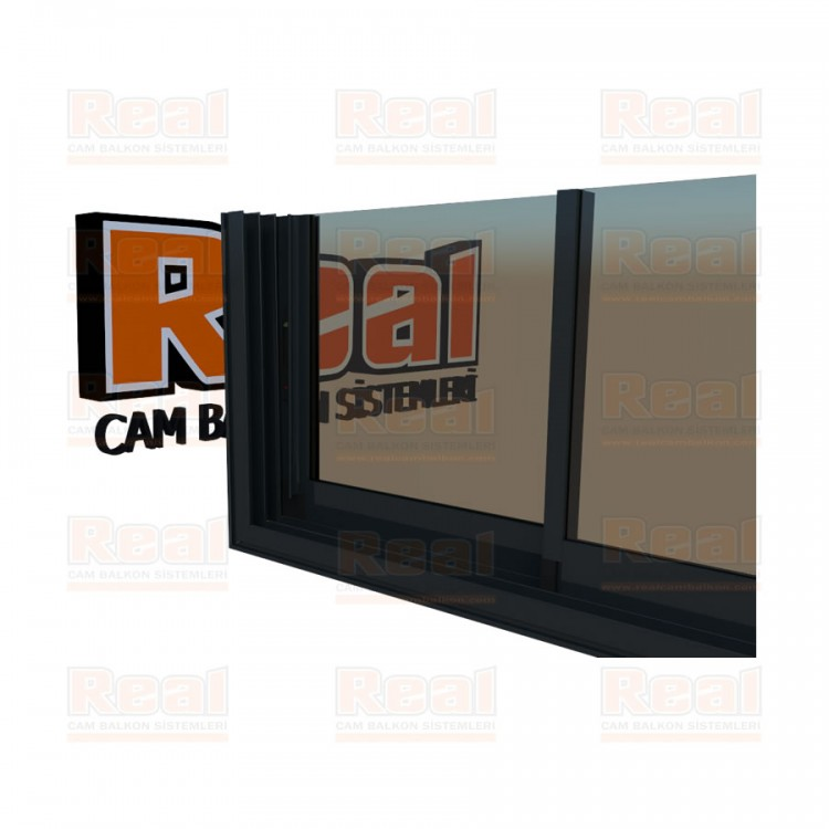 R3 Sürme Seri Eşikli 8 mm Bronz Cam Antrasit Gri Profil - Bronz Cam