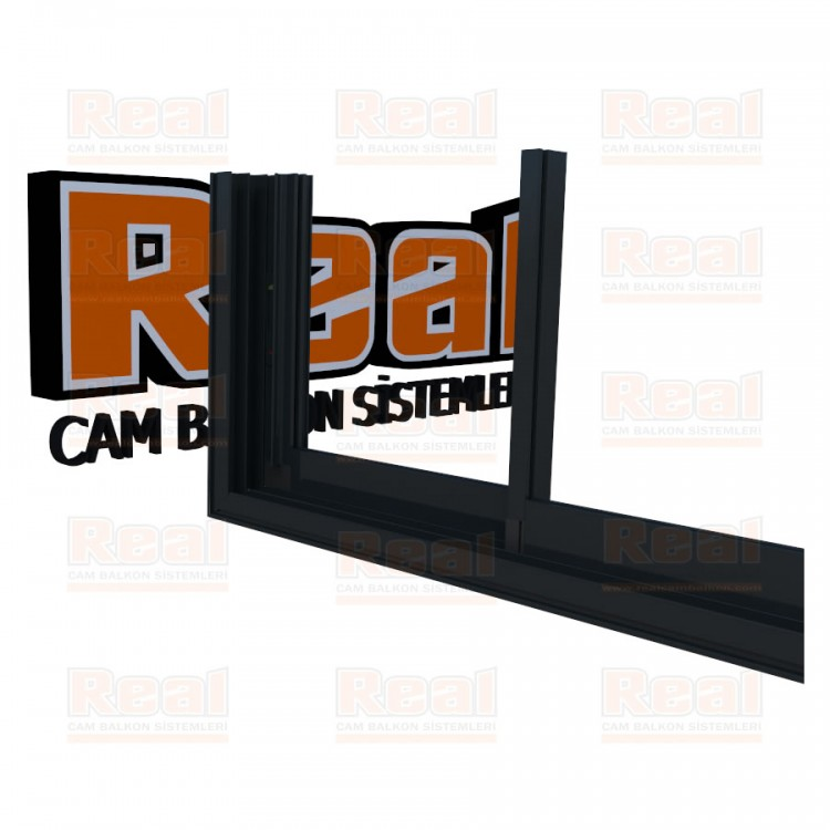 R3 Sürme Seri Eşikli 8 mm Camsız Antrasit Gri Profil - Camsız