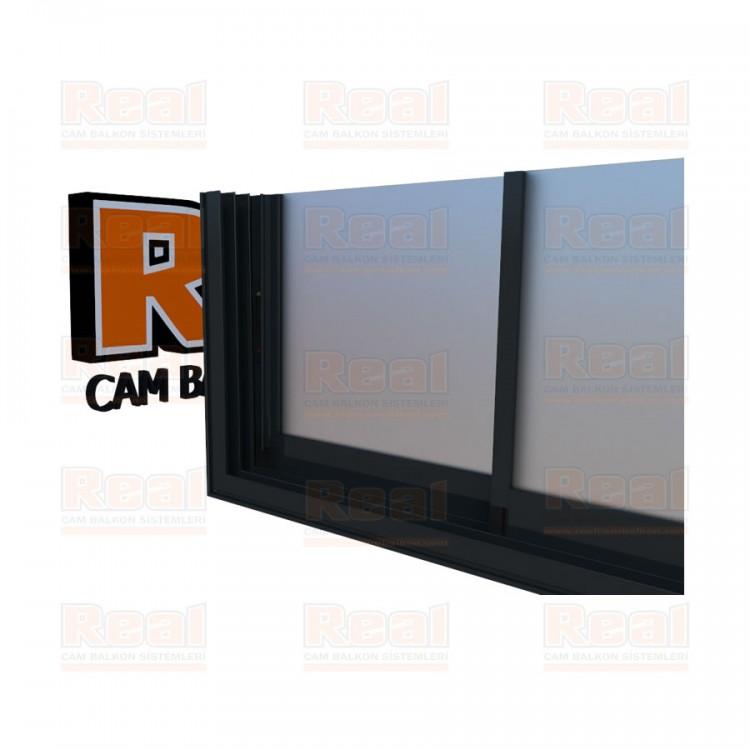R3 Sürme Seri Eşikli 8 mm Satine Cam Antrasit Gri Profil - Satine Cam