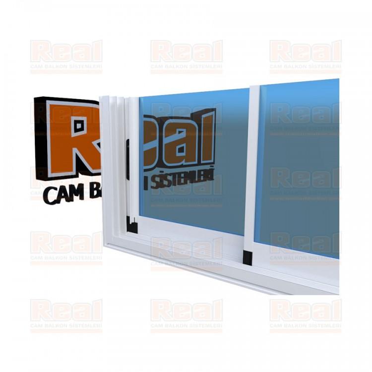 R3 Sürme Seri Eşikli 8 mm Mavi Cam Beyaz Profil - Mavi Cam