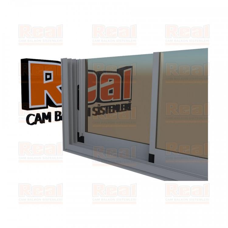 R3 Sürme Seri Eşikli 8 mm Bronz Cam Mat Eloksal Profil - Bronz Cam