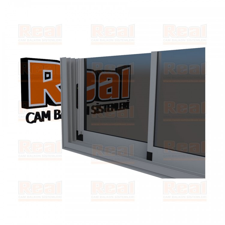 R3 Sürme Seri Eşikli 8 mm Füme Cam Mat Eloksal Profil - Füme Cam