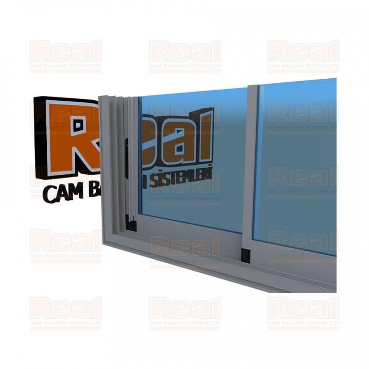 R3 Sürme Seri Eşikli 8 mm Mavi Cam Mat Eloksal Profil - Mavi Cam