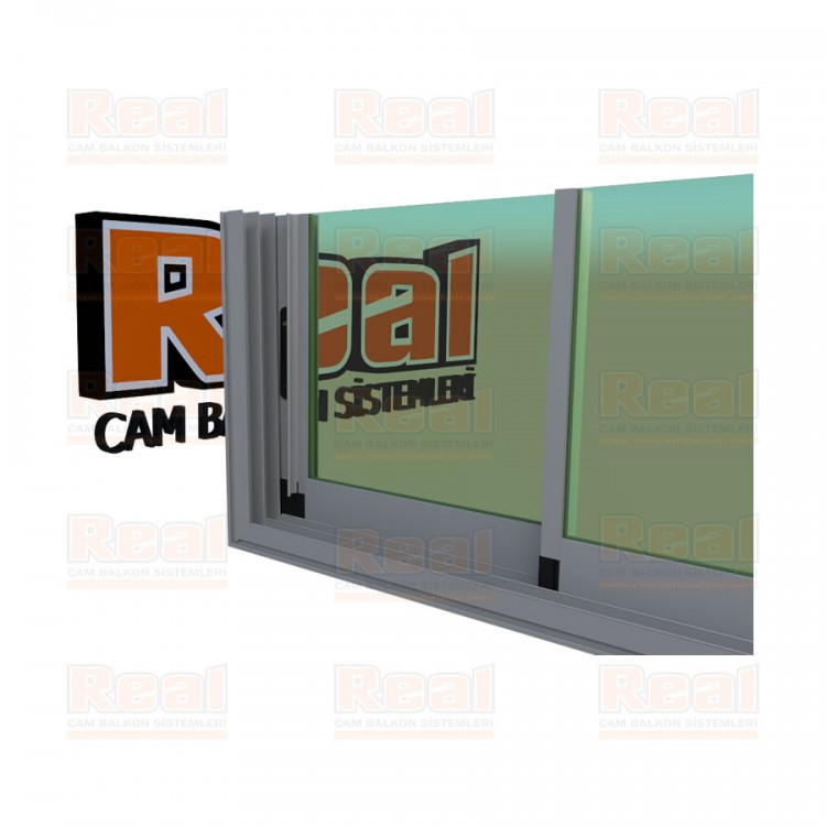 R3 Sürme Seri Eşikli 8 mm Yeşil Cam Mat Eloksal Profil - Yeşil Cam