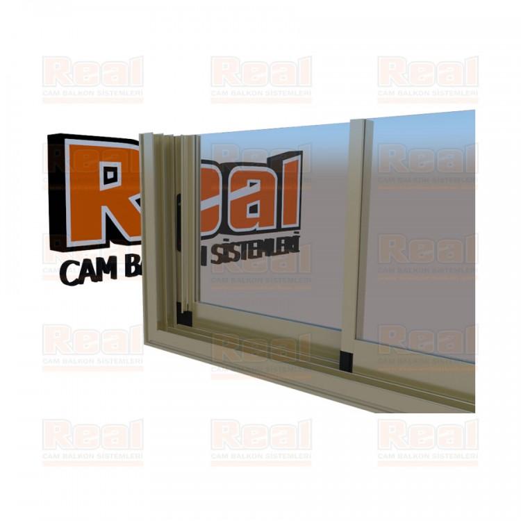 R3 Sürme Seri Eşikli 8 mm Şeffaf Cam Bronz Profil - Şeffaf Cam