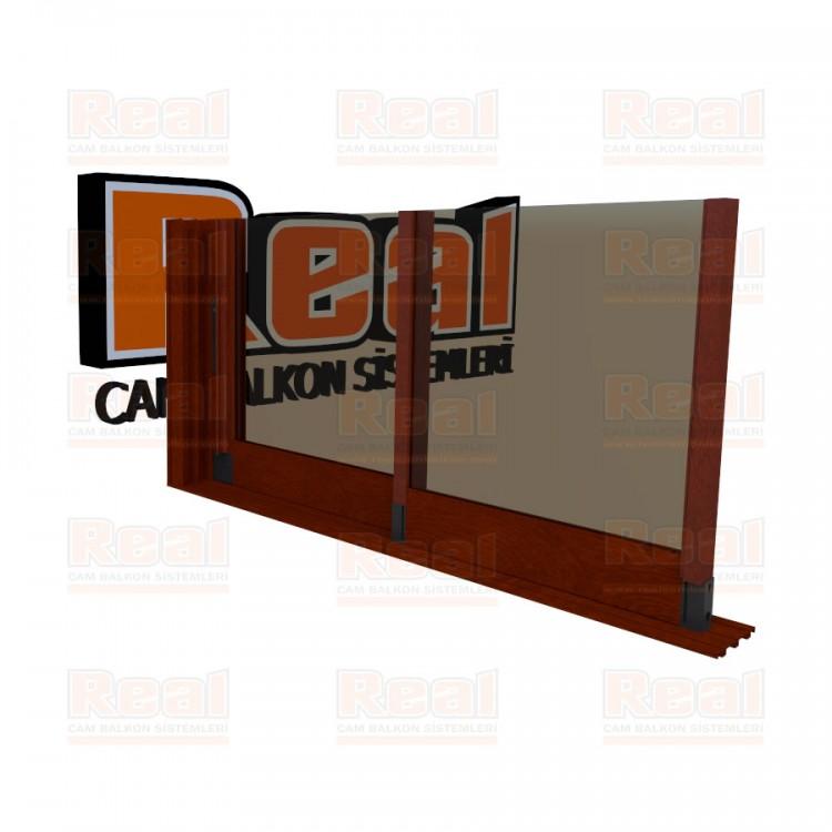 R3 Sürme Seri 8 mm Eşiksiz Bronz Cam Ahşap Fındık Profil - Bronz Cam