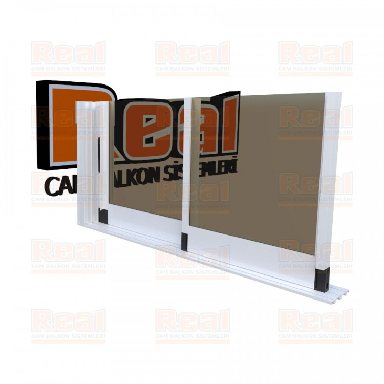 R3 Sürme Seri 8 mm Eşiksiz Bronz Cam Beyaz Profil - Bronz Cam