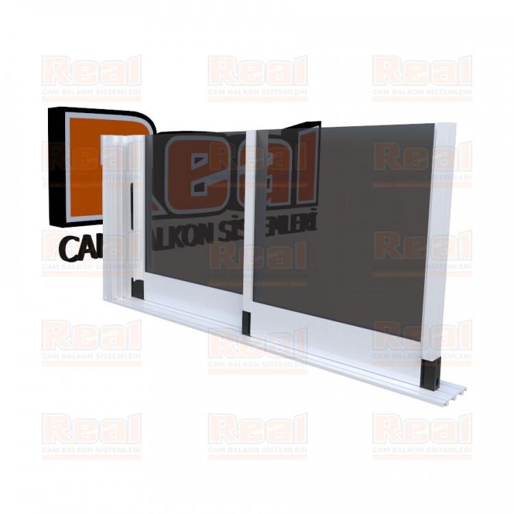 R3 Sürme Seri 8 mm Eşiksiz Füme Cam Beyaz Profil - Füme Cam