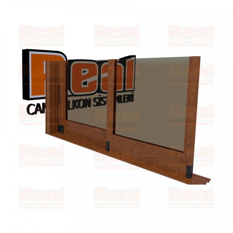 R3 Sürme Seri Eşiksiz Isıcamlı Bronz Cam Ahşap Altınmeşe Profil - Bronz Cam