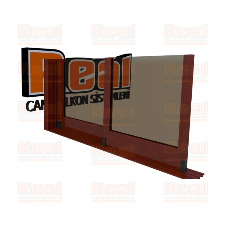 R3 Sürme Seri Eşiksiz Isıcamlı Bronz Cam Ahşap Fındık Profil - Bronz Cam
