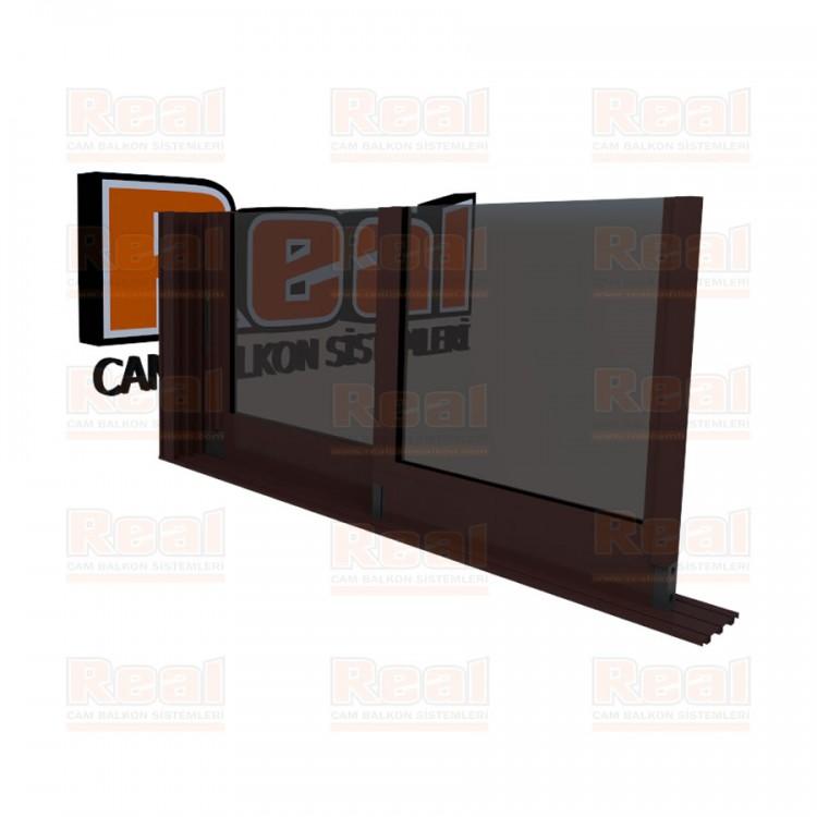 R3 Sürme Seri Eşiksiz Isıcamlı Füme Cam Maun Profil - Füme Cam