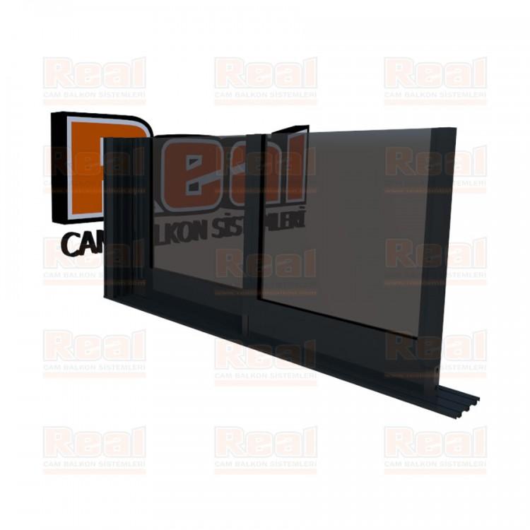 R3 Sürme Seri Eşiksiz Isıcamlı Füme Cam Antrasit Gri Profil - Füme Cam