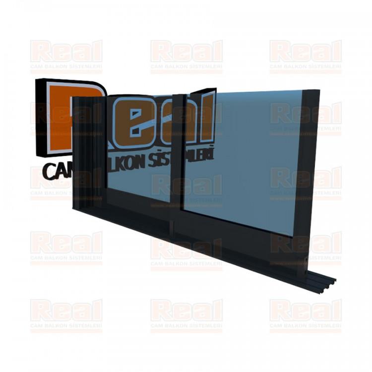 R3 Sürme Seri Eşiksiz Isıcamlı Mavi Cam Antrasit Gri Profil - Mavi Cam